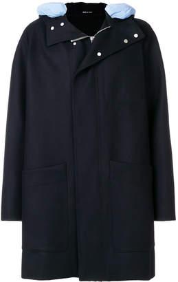 Cédric Charlier contrast-hood zipped coat