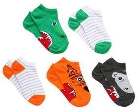 F&F 5 Pack Of Novelty Animal And Striped Trainer Socks Child Shoe 6-8 1/2