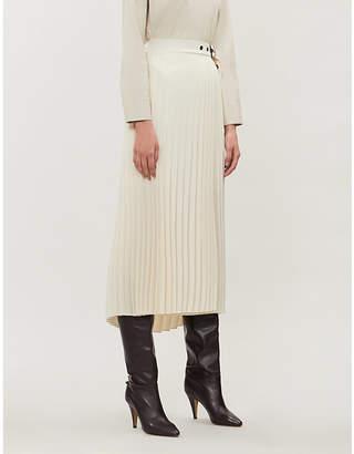 Brunello Cucinelli Plisse belted stretch-twill midi skirt