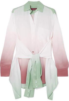 Sies Marjan - Nellie Ombré Silk Crepe De Chine Shirt - Gray green