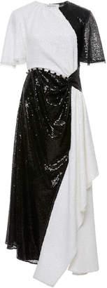 Prabal Gurung Flutter Sleeve Asymmetric Cutout Dress