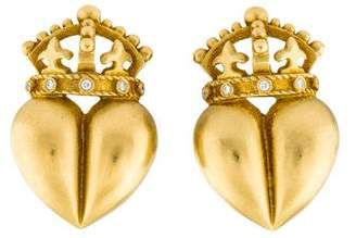 Kieselstein-Cord 18K Diamond Royal Heart Clip-On Earrings