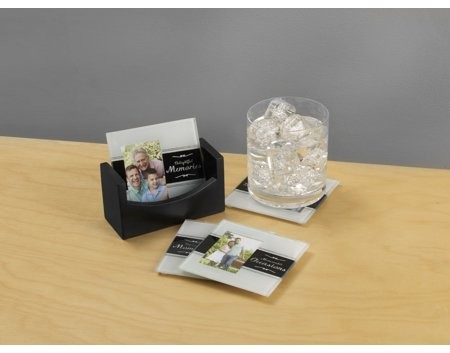 Melannco Set of 4 Sentiment Photo Coasters With Black Wood Base