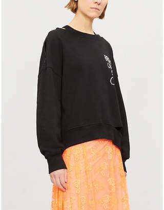 Izzue Cutout-hem embroidered cotton-jersey sweatshirt