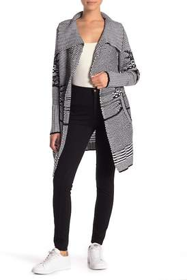 Modern Designer Striped Open Front Sweater Coat (Petite)