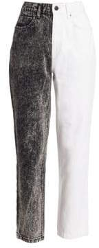 Alexander Wang Women's Two-Tone Ankle Jeans - Marbled Dark - Size 27 (4)