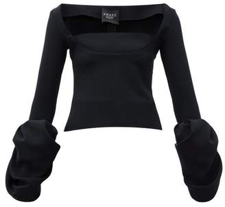 A.W.A.K.E. Mode Distorted Cuff Crepe Evening Top - Womens - Black