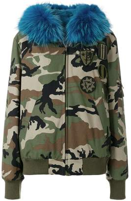 Furs66 fur hooded camouflage print bomber jacket