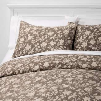 Threshold Family Friendly Floral Duvet Cover & Pillow Sham Set Natural