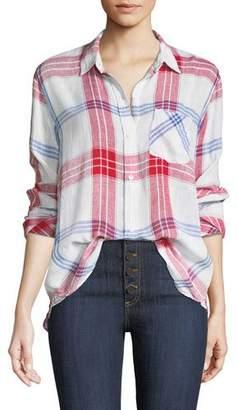 Rails Charli Linen-Blend Check Button-Front Pocket Shirt