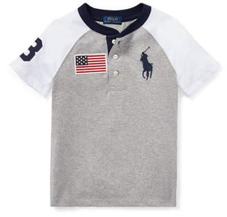 Ralph Lauren Short-Sleeve Logo Henley Top, Size 5-7