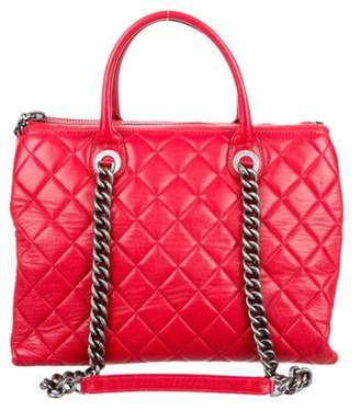 Chanel Quilted Zip Shopping Tote Red Quilted Zip Shopping Tote