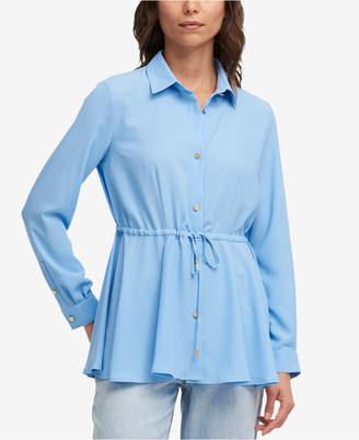 DKNY Drawstring-Waist Peplum Shirt