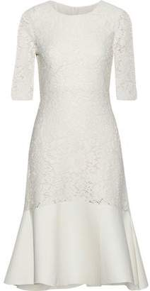 See by Chloe Fluted Faille-Paneled Cotton-Blend Lace Dress