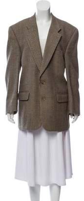 Burberry Wool Herringbone Plaid Blazer