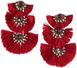 Nakamol Three-Tier Tassel Drop Earrings, Red