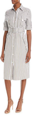 Derek Lam Button-Front Short-Sleeve Striped Utility Shirtdress