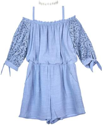 497b202d93ac Amy Byer Iz Girls 7-16 IZ Lace Sleeves Off-the-Shoulder Romper