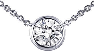 Lafonn Classic Platinum Plated Simulated Diamond Bezel Solitaire Necklace