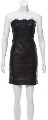 Valentino Lace-Accented Leather Dress