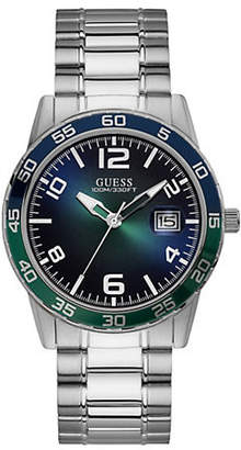GUESS Silvertone Bracelet Watch with Blue Dial U1172G2