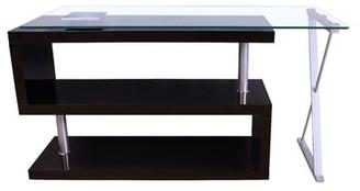 Orren Ellis Lachlan Glass L-Shape Credenza desk Orren Ellis