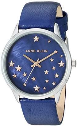 Anne Klein Women's AK/3247RTDB Swarovski Crystal Accented Silver-Tone and Dark Leather Strap Watch