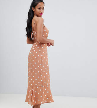 Fashion Union Petite Tie Back Maxi Dress In Vintage Spot