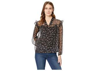 Vince Camuto Long Sleeve Ditsy Manor Tie Front Peasant Blouse