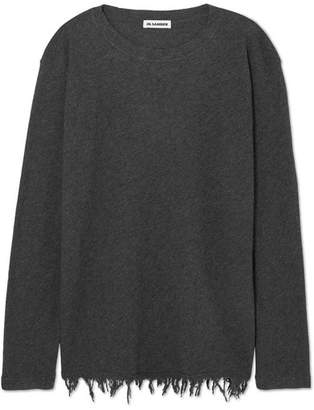Jil Sander Frayed Wool And Cashmere-blend Sweater - Gray