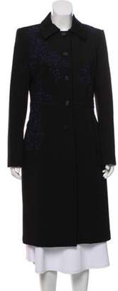 Blumarine Lace-Accented Longline Coat w/ Tags Black Lace-Accented Longline Coat w/ Tags