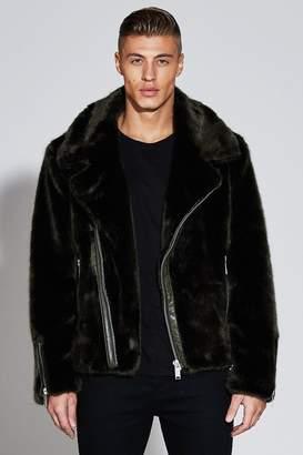 boohoo Premium Oversized Faux Fur Biker Jacket