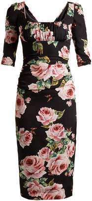 Dolce & Gabbana Rose-print stretch-silk charmeuse dress