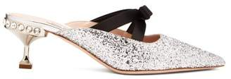 Miu Miu Glitter And Bow Embellished Mules - Womens - Silver