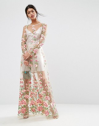ASOS SALON Floral Embroidered Metallic Slip Longer Length Midi Dress $178 thestylecure.com