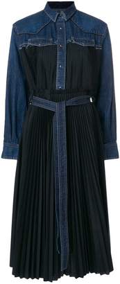 Sacai fusion flared denim insert dress