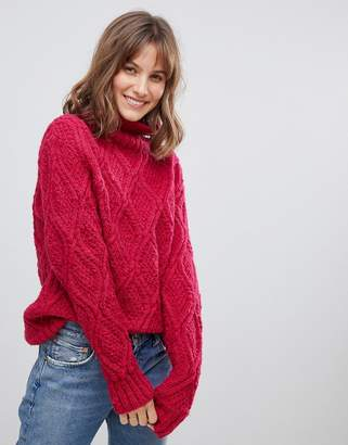 People Tree Hand Knitted Cable Knit Wool High Neck Oversized Jumper