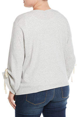 Bobeau Plus Nia Ruched-Sleeve Open-Front Cardigan, Plus Size
