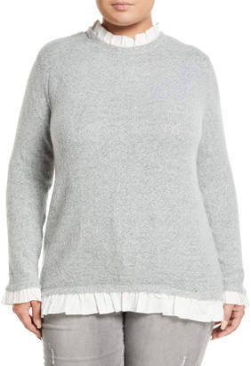 Neiman Marcus Poplin-Ruffle Trim Sweater, Plus Size