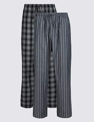 Marks and Spencer 2 Pack Pure Cotton Long Pyjama Bottoms