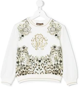 Roberto Cavalli Junior floral leopard print sweatshirt