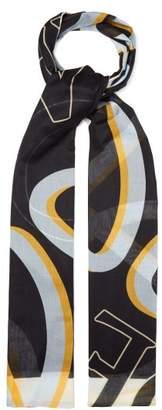 Loewe Logo Anagram Cotton Scarf - Womens - Black
