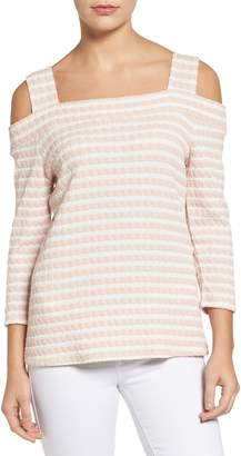 KUT from the Kloth Fridi Texture Stripe Cold Shoulder Top