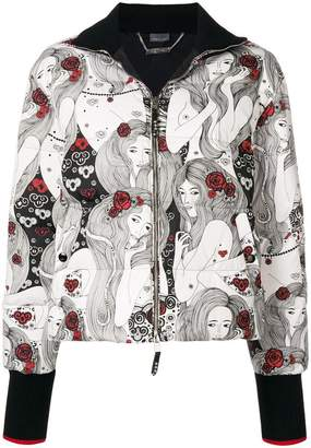 Alexander McQueen illustrated print cropped jacket