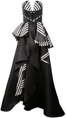 Rubin Singer deep V-neck striped dress