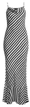 Saloni Stella Striped Ruffle-Hem Maxi Dress