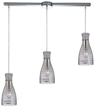 clear Elk Lighting Strata 3 Light Pendant in Polished Chrome and Glass