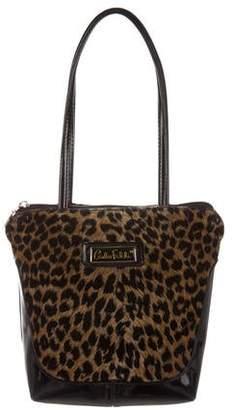 Carlos Falchi Leather Velvet-Accented Shoulder Bag