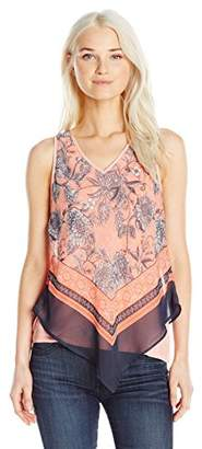 Amy Byer A. Byer Junior's Young Women's Teen Scarf Print Tank Top
