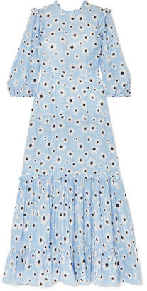 Rixo Monet Ruffled Floral-print Cotton And Silk-blend Dress - Blue